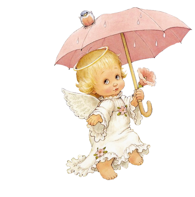 Cute Angel with Parasol Free Clipart